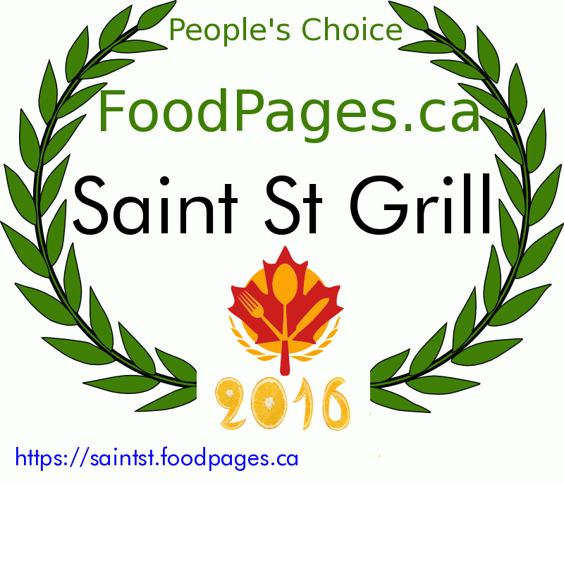 Saint St Grill FoodPages.ca 2016 Award Winner